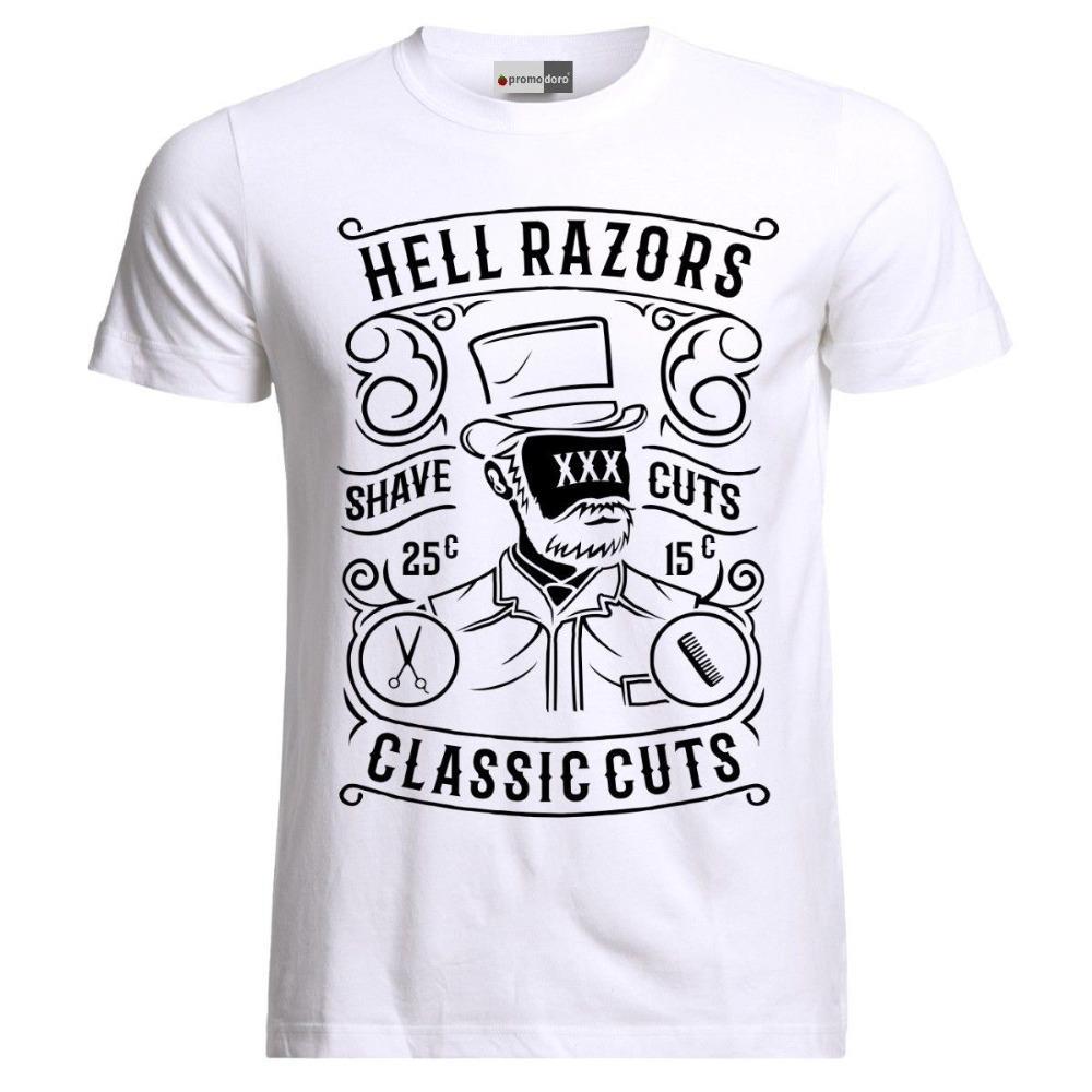 vintage hell razors barber shop hair stylist beard funny t-shirt 2020 fashion fashion men printed t shirts custom shirt design