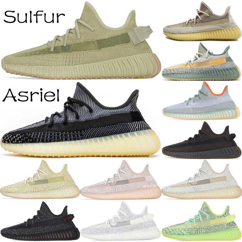2020 En Kaliteli Kanye West Erkek Koşu Ayakkabıları Kükürt Asriel Çöl Sage Kuyruk Işık Keten Marsh Israfil Statik Külot Kadın Sneakers Boyutu 13