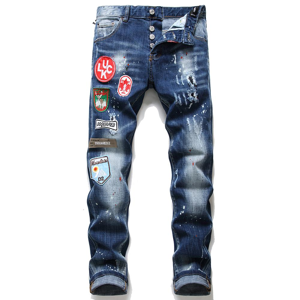 Men's Multi-badge Stretch Jeans Autumn and Winter New Style Ripped Paint mens Slim Hole Patch Jeans Fit Jeans Men's Denim Pants