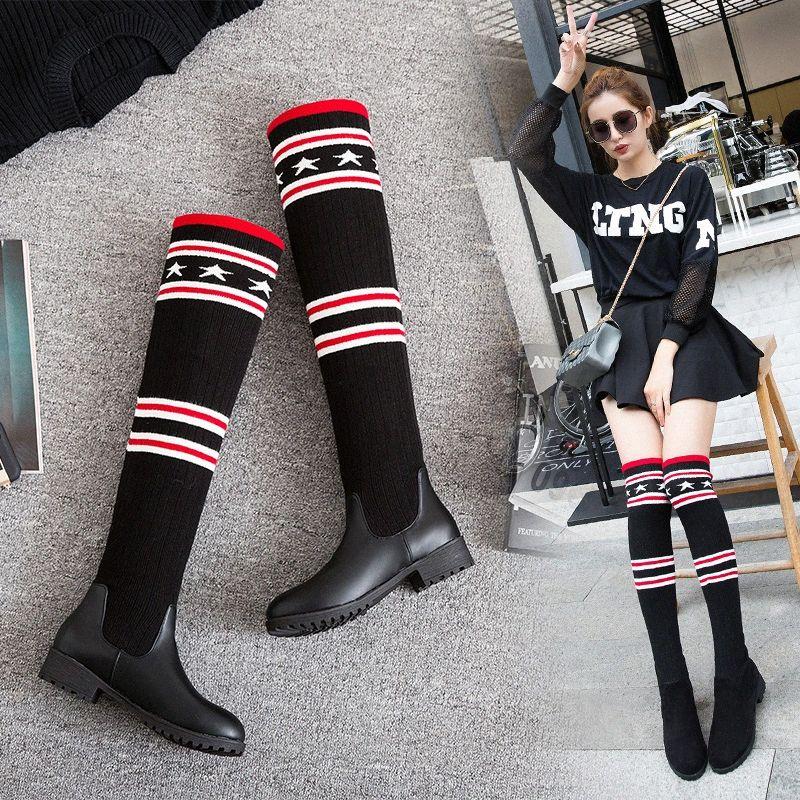 S.Romance 2018 Kadınlar Boots Artı boyutu 34 43 Düşük Kare Topuklar Diz Boots Ofisi Bayanlar Kadın Siyah SB033 YUJL # Kadın Ayakkabı
