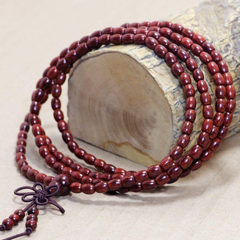 lpOyv Lobular Rosewood Buddha bead Buddha 3-5mm rice beads cylindrical beads women's bracelet chain bracelet