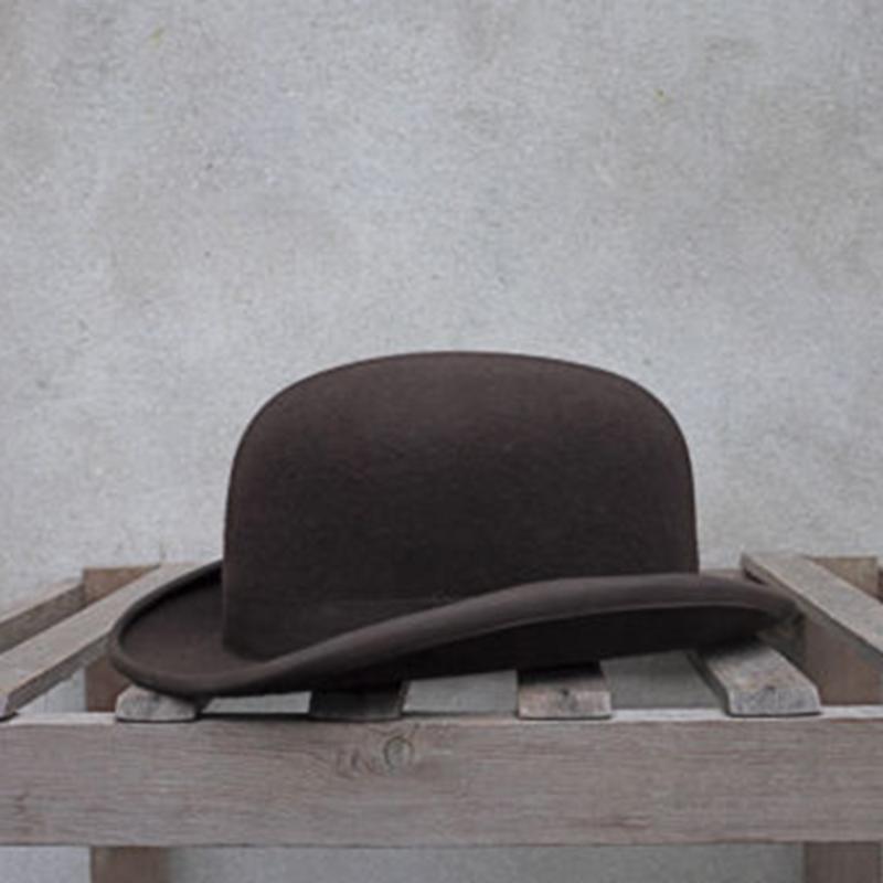 100% Шерсти котелок Женщина Мужчины 100% раздавливаемая Традиционный котелок Groom Шляпа 4 Размера S M L XL