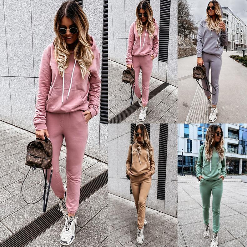 2020 designer solid color casual Sweatshirts hoodies long sleeve women two piece set ladies 2 pieces outfits women clothes