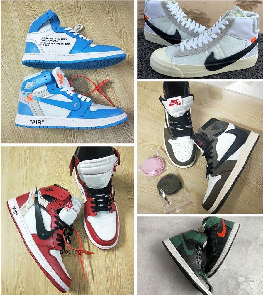 Nike air jordan retro 1 chicago casual shoes classic travis Scott x SoleFly basketball sneakers Blazer mid Art Basel Union shoes
