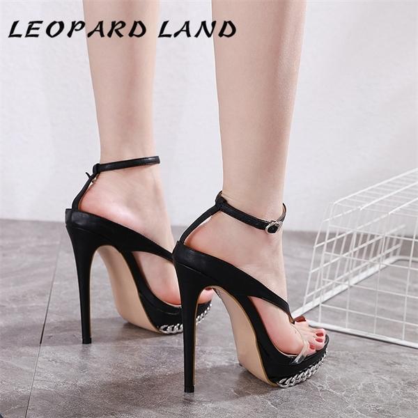 LAND LEOPARD 2020 sandálias femininas para mulheres e senhoras sapatos de salto sandálias plataforma Cadeia Estilo Mulheres decorativa CWF-my723-9 0922