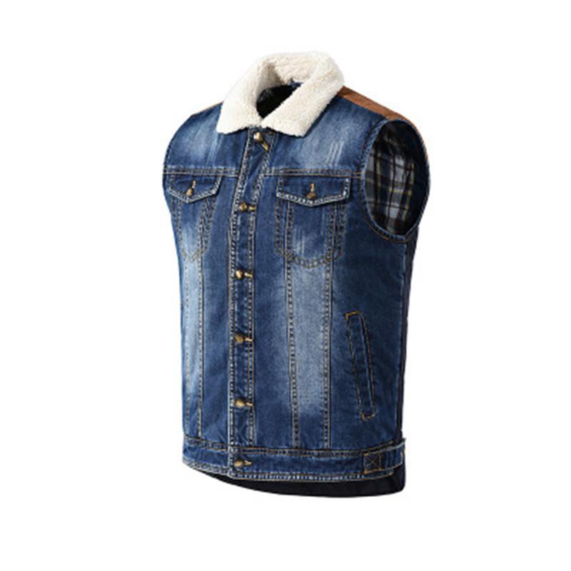 Человек Лоскутная джинсовой жилет Куртки Мода Occident Trend рукавов однобортный Denim Верхняя одежда Дизайнер Мужской Новый Повседневный Теплые пальто