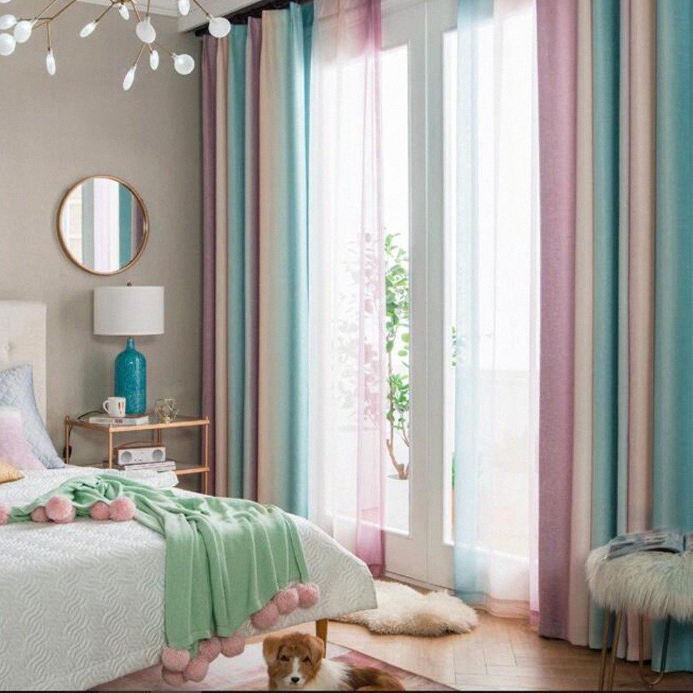 Gradiente window Tenda della banda dell'arcobaleno Stampa Tende tende di tulle trasparente Voile tende decorative per Living Room Bed Blue Room 21lI #