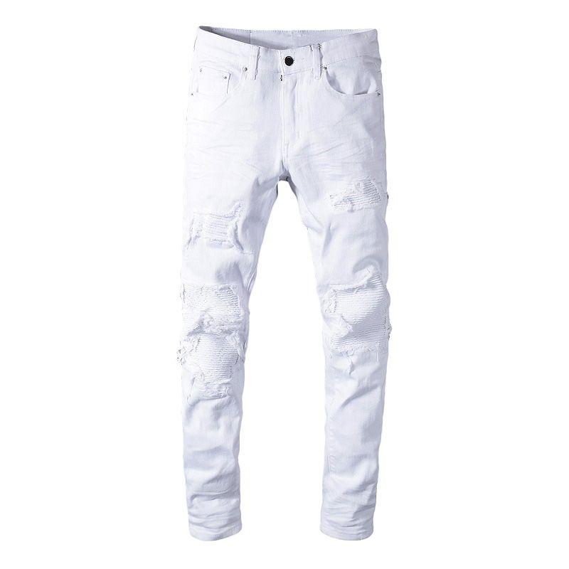Sokotoo Männer Weißdehnungs- zerrissene Jeans Biker dünne dünne gefaltete Patchworkdenimhosen