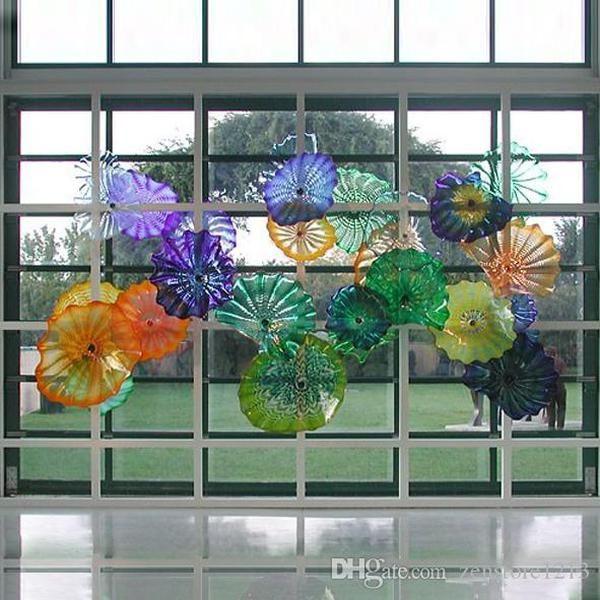 Murano Glass Plates Flower Wall Art Lamp Color Flower Wall Art 100 %Hand Blown Glass Hanging Plates Interior Window Deco