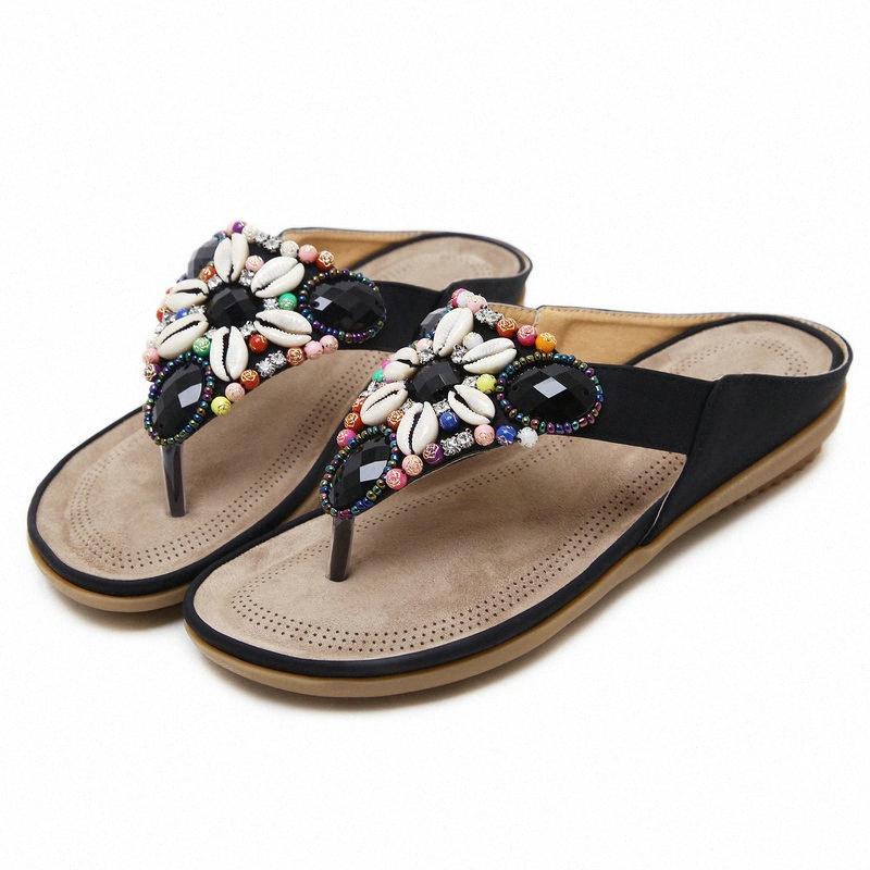 Tamanho 35 45 Feminino Moda Cores Leather Flip Flops Mulher PU Verão Cristais Chinelos de Senhoras sapatos ao ar livre Mulheres Plano Salto Sapato em Cunha FtKB #