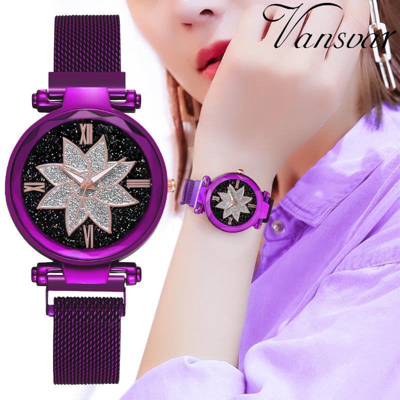 Señoras de la pulsera banda de moda Tendencias cielo estrellado las mujeres del reloj de cuarzo magnética cristalina de lujo púrpura de la flor Classic