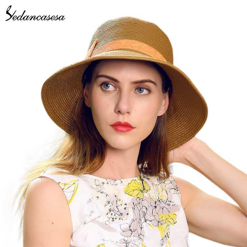 Wide Brim Hats Woman Beach Floppy Foldable Straw Sun For Women Fashion Summer Cap Bowknot UV Protection SW120036