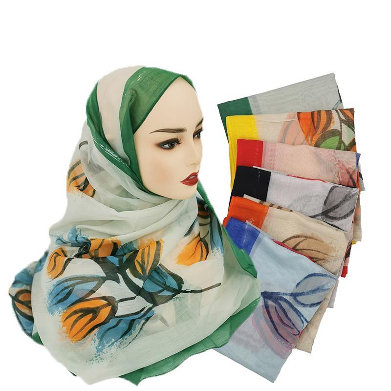 Moda scialle Sciarpe per le donne stampa floreale in raso di seta Hijab sciarpa femminile 180x80cm Fazzoletto scialle testa Sciarpe per le donne 10 pz