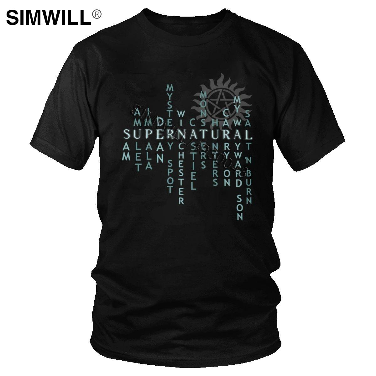 Stylish Supernatural Hunter Quote T Shirts Men 100% Cotton T-Shirt Round Collar Short Sleeve Winchester Bros Life Tee Tops