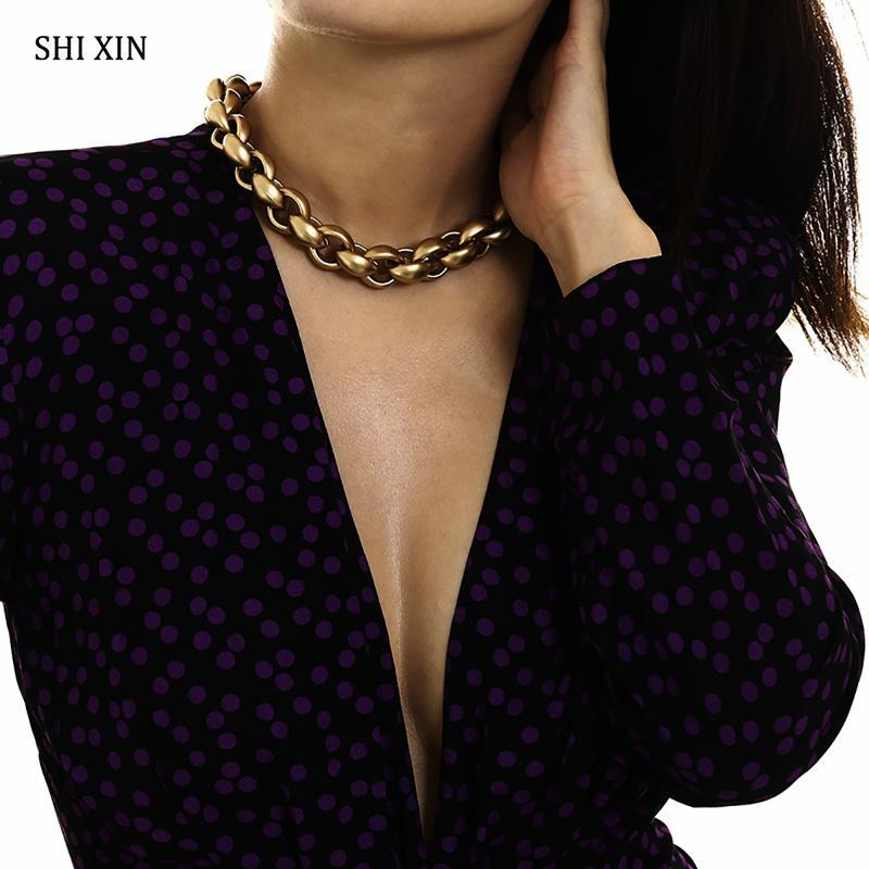 Shixin Punk Altın Zincir Tıknaz Kolye 2020 Bildirimi Moda Gerdanlık Kolye Kadınlar Hiphop Kısa Kadın Yaka Hediye