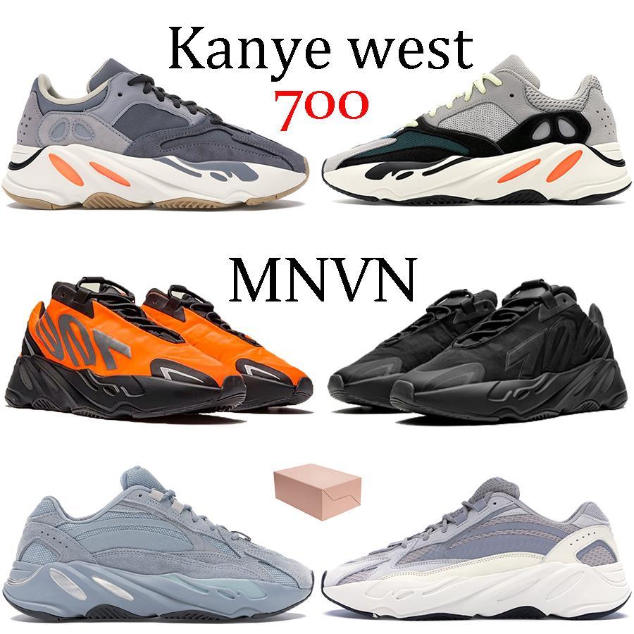 Kanye batı 700 MNVN ayakkabı Katı Gri Teal Mavi turuncu Tie-boya Atalet V2 spor ayakkabısı Üçlü Siyah Fosfor erkek bayan ayakkabı çalışan yansıtıcı