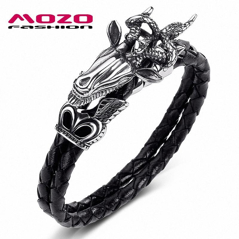 MOZO MODA Hot Sale Homens Jóias Preto Genuine pulseira de couro de aço inoxidável Punk rei dos animais ovelhas Mulheres Pulseiras 551 yDEt #