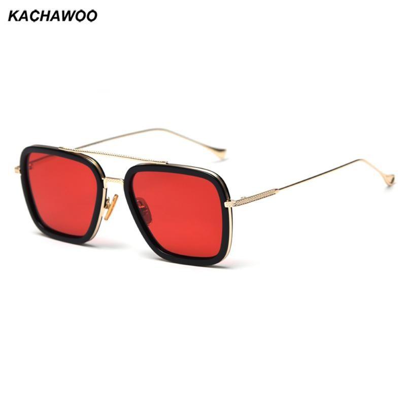 Солнцезащитные очки Kachawoo Мужчина Поляризованные Квадратные Красные Коричневые Тониты Солнцезащитные Очки Для Женщин Высокое Качество Полуатал Мужской Вождение Очки
