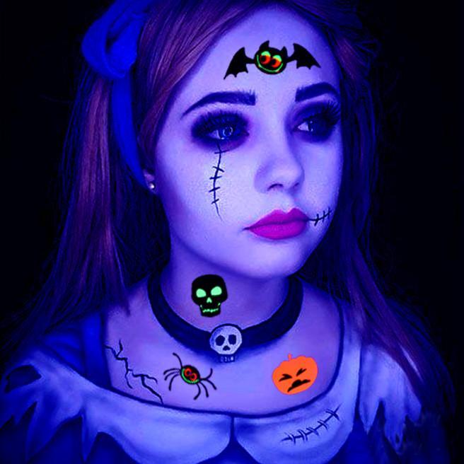 The Latest 4 Styles Halloween Fluorescent Waterproof Children Cartoon Animal Anime Tattoo Stickers Scar Decal Arm Free Shipping