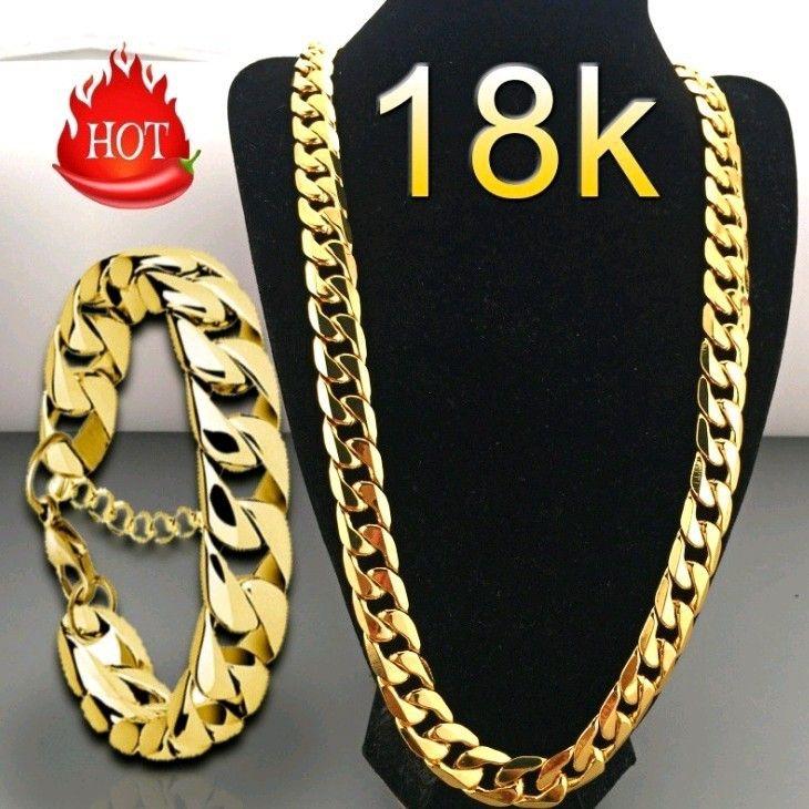 حار بيع 8K ريال الذهب الأصفر مطلي فيجارو سلسلة القلائد قلادة 8 مقاسات الرجال الهيب هوب مجوهرات 16mm وسلسلة للمرأة الرجال