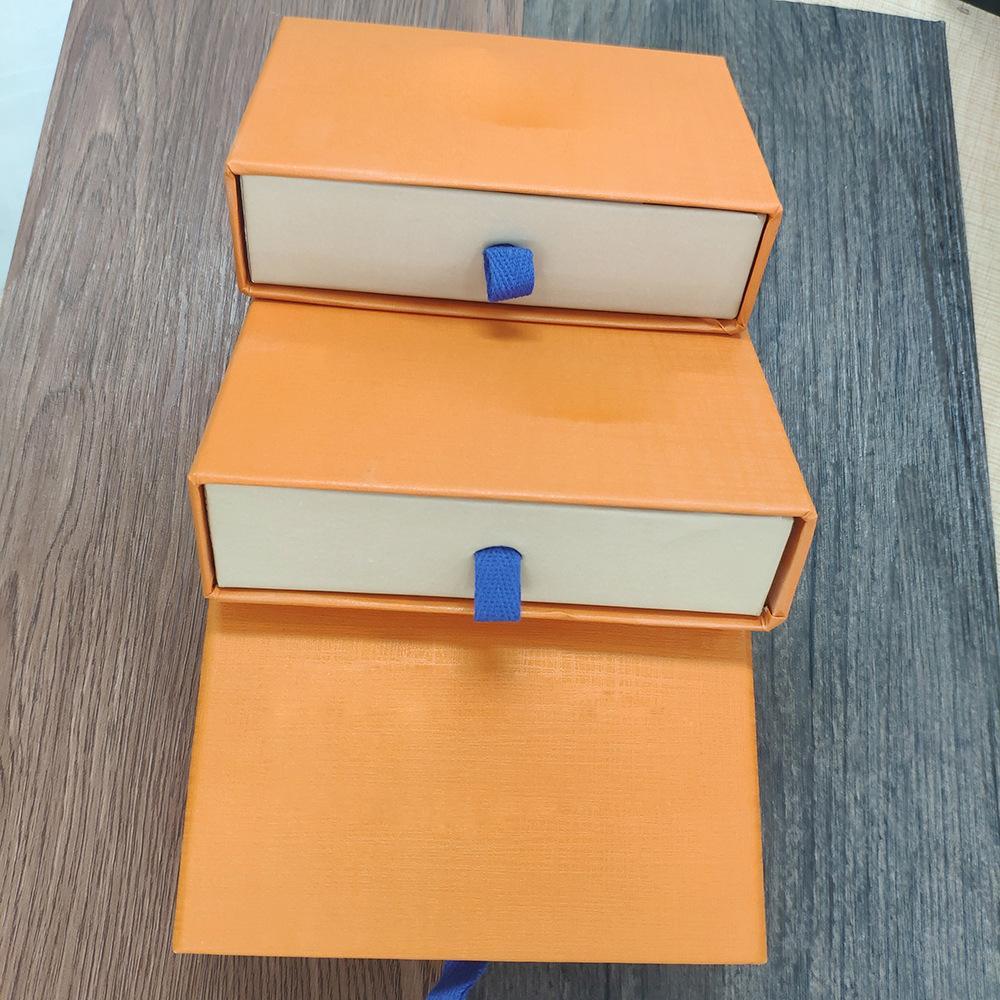 Orange Retail-Geschenkverpackung Schubladenkästen Kordelzug Tuch Taschen Kartenzertifikat Broschüre Tasche für Schmuck Halsketten Armbänder Schlüsselanhänger