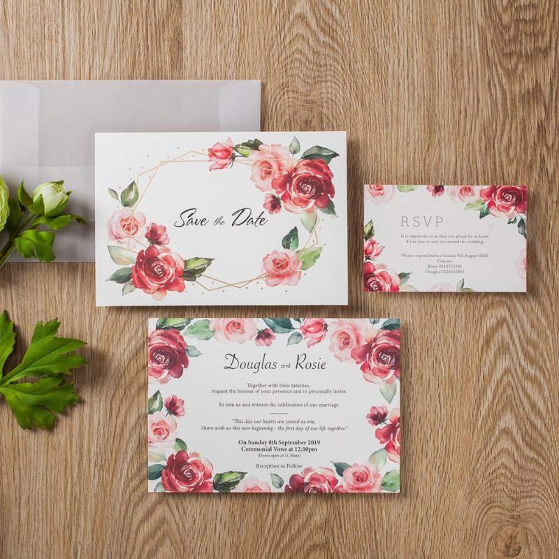 100pcs Rose Diseño floral tarjetas de invitaciones con las tarjetas de RSVP y Guardar y fecha tarjeta sulfúrico Sobre de papel para la Fiesta