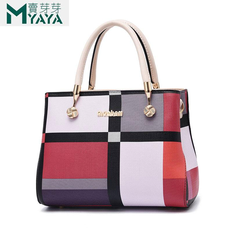 Accueille sacs à sacs à sacs à sacs de couture sacs en cuir sauvage sacs à carreaux épaules neuves sac de marque PU femmes Messenger Maiyaya Femme Vlwe