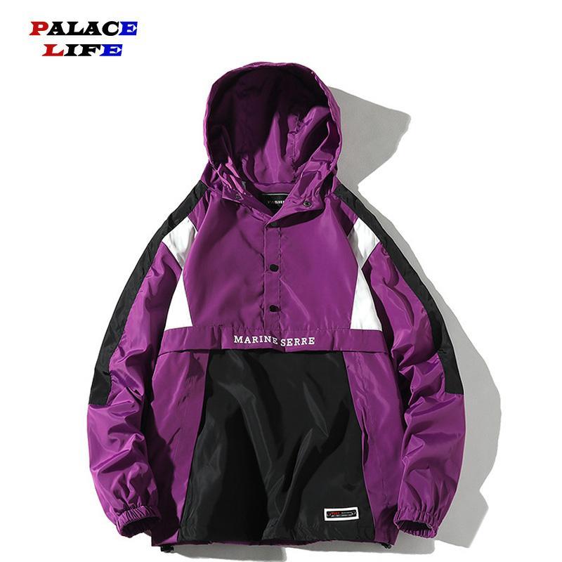 Men's Jackets Men Harajuku Patchwork Coats 2021 Fashion Hit Color Streetwear Vintage Windbreaker Korean Casual Hooded Bomber