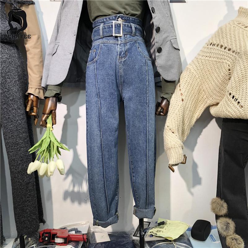 Plus Size Moda Primavera Jean donne coreane delle donne di vita alta stile gamba larga femminile Denim Jeans Harem Retro pantaloni femmine Pant