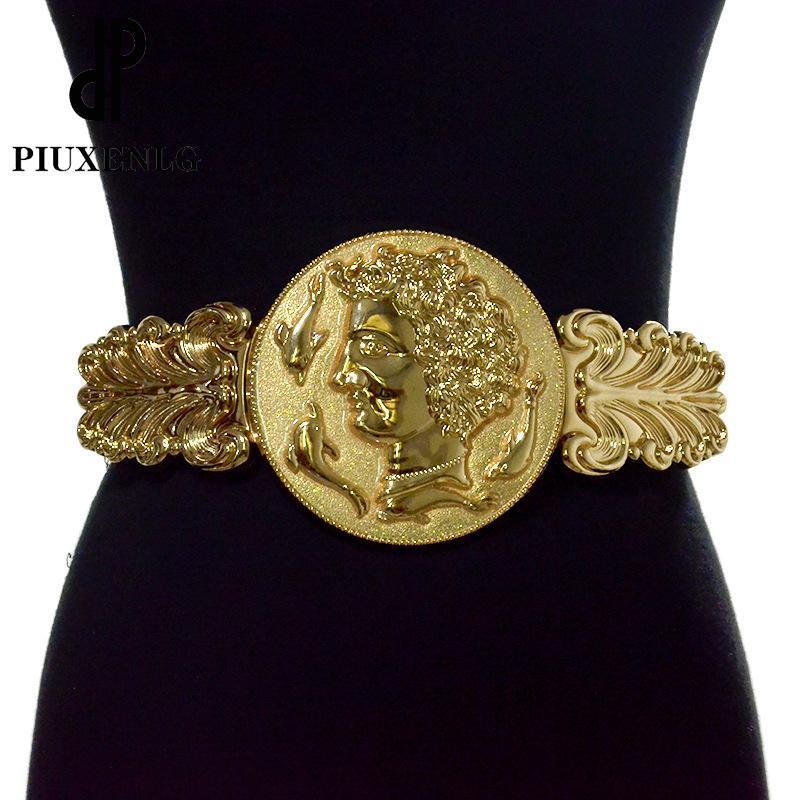 Goldene Taillengürtel für Frauen Large Size Muster Retro Gurtfrau Designer Ladieselastic Waistband für Kleid