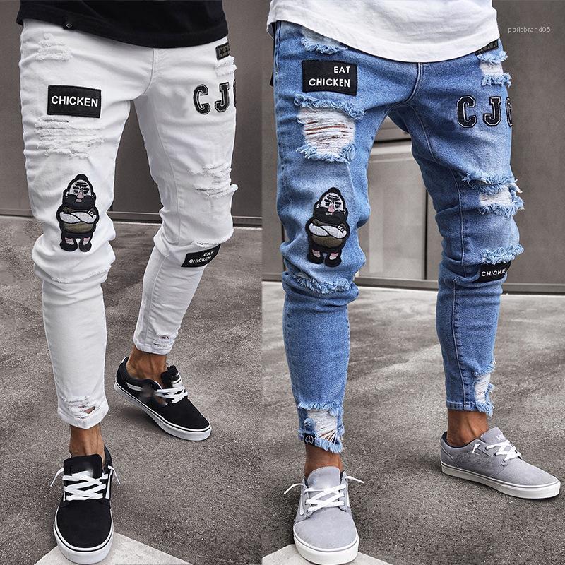 Tehlike Yıpranmış Biker Jeans Boys İşlemeli Desenler Kalem Pantolon Moda Erkek Skinny Jeans Rip İnce Stretch Denim sığdırmak