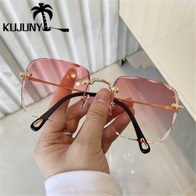 Для анти-УФ-оттенок безраспеченные женщины Sun Rimless Sun Polygon Metal квадратные очки Храмовые очки Очки Солнцезащитные очки Kfsma