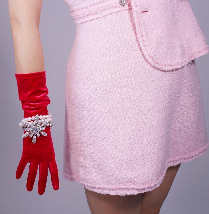 élégant écran tactile de velours élastique des femmes longs gants partie femelle pleuche couleur rouge conduite gant 40cm 60 cm R1448