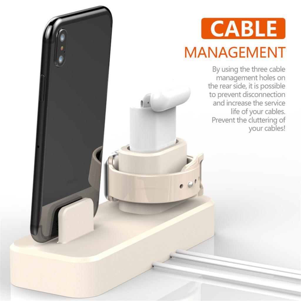 3 en 1 cargador de pie Base de carga para dispositivos Apple