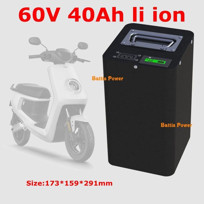 60v 40Ah paquete de ion Li de la batería de litio con BMS para el vehículo de la motocicleta scooter de bicicleta cargador 3000w e-bicicleta + 5A
