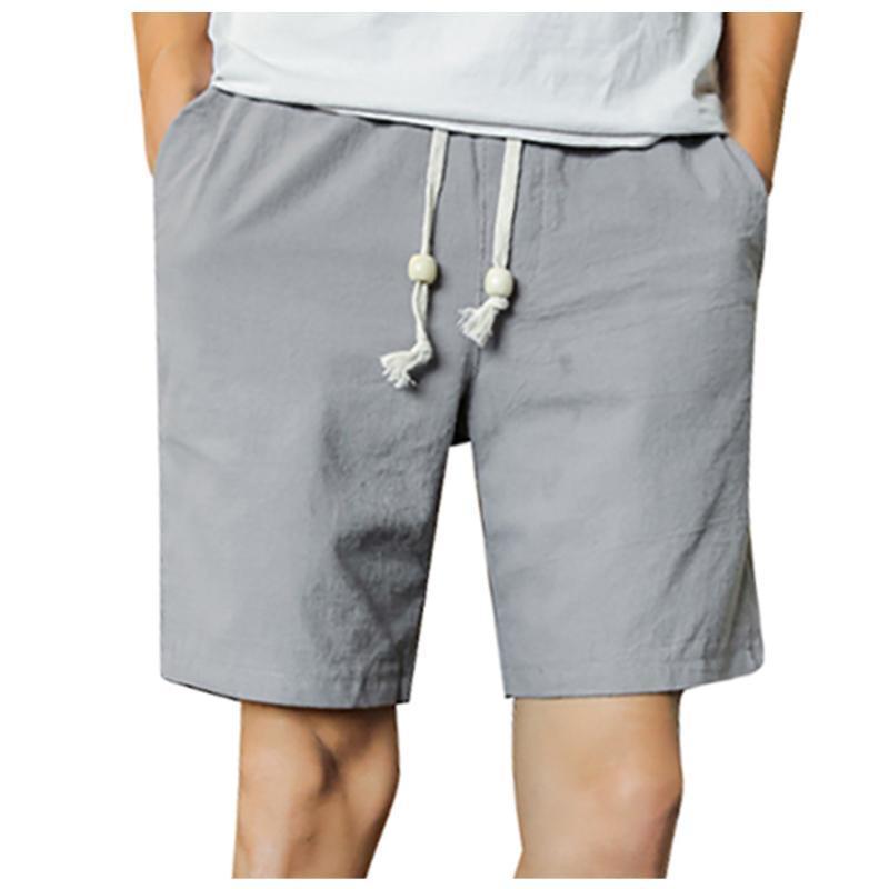 JAYCOSIN Männer Shorts Fest Farbe zerrissene kurze Hosen Leinen Polyester Jogger Workout Shorts Männer Kordelzug Taschen Sporthose