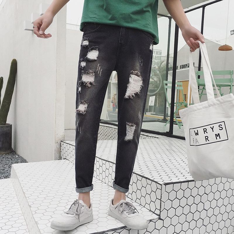 15Etx Trendy riss feste Hosen Leggings und knöchellange Jeans Sommer hellblau Herren-Jeans lässig jeanswashed Hosen wJrxa verlieren