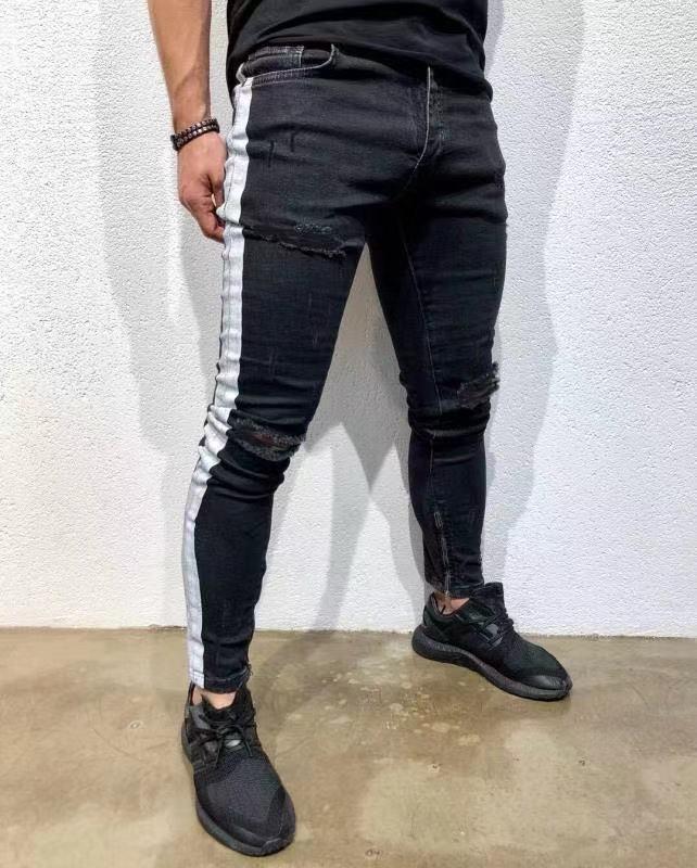 Jeans Hommes Hip Hop Stripe Pantalon élastique Denim Slim Fit Homme Élastique Crayon Bottoms rue genou trous Jeans Ripped