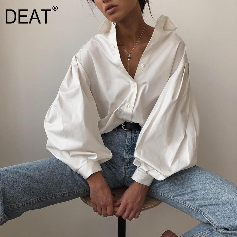 [DEAT] Женщины Блуза новый черный белый Sexy офис отворотом шею длинным рукавом Фонарь Сыпучие Fit рубашка Мода весна осень 2020 13F348