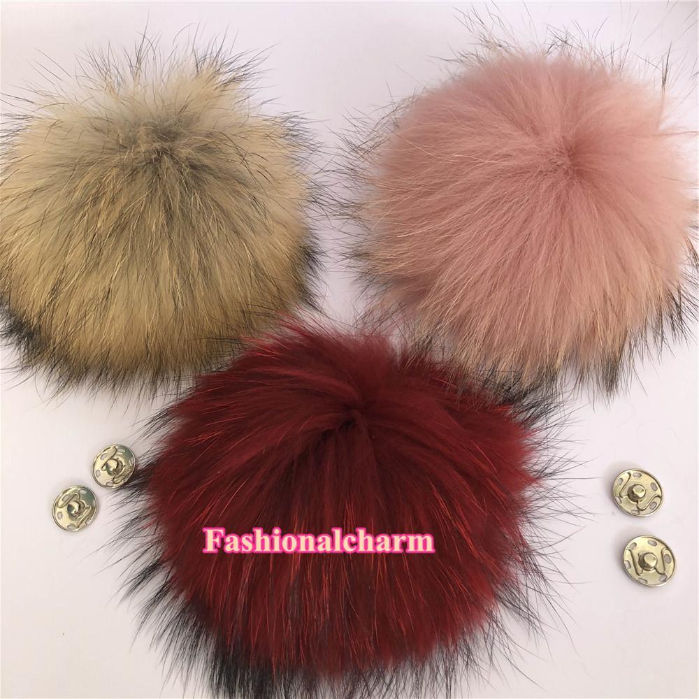 """15cm / 6"""" Button Shoes Grande reale della pelliccia del procione Pompon sfera W Snap Cap Hat Beanie fai da te"""