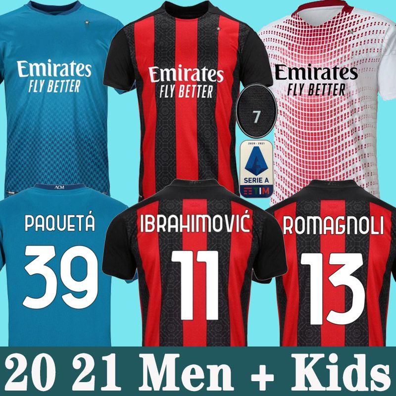 19 20 AC Milan soccer jersey 2019 2020 PIATEK كرة القدم قميص طويل الأكمام BENNACER PACKET رجال أطفال REBIC كرة القدم قميص ROMAGNOLI