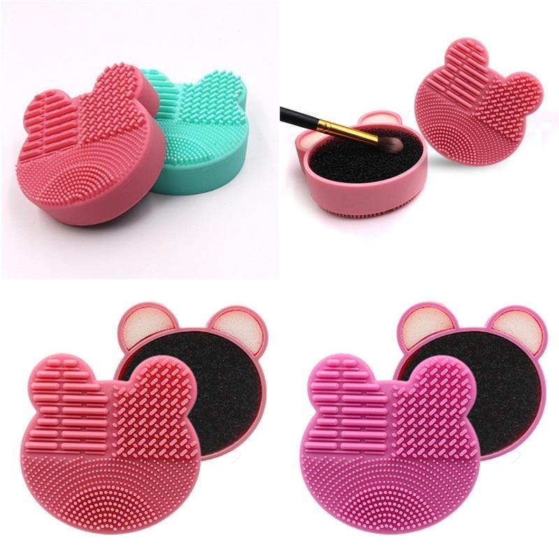 Mat cepillo cosméticos de maquillaje Cleaner Esponja de silicona Casos cajas de colores Easy Clean Maquillaje Herramientas Bastante 4 3le E2