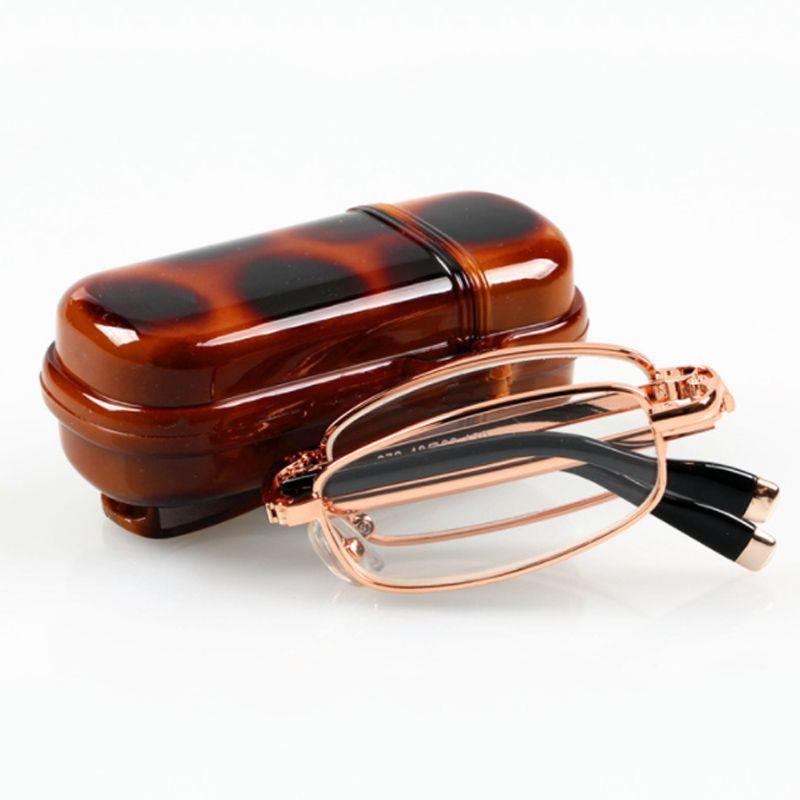 Folding Reading Glasses Women Men Frame Clear Glass Lens Slim Presbyopic Eyeglasses +1.0 to +4.0 With Case Reader Eyewear
