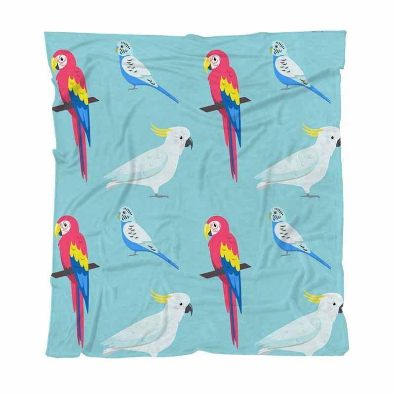 Réchauffez Flanelle Toison couvertures moelleuses couvertures solide modèle sans couture avec coloré Perroquets souple confortable Couverture multifonction