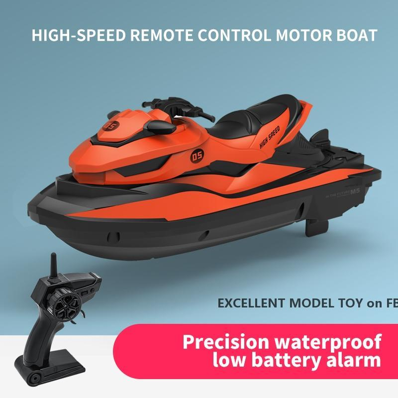 SMRC M5 2.4G Fernbedienung elektrischer Speedboat Motorboat Spielzeug, Highspeed 10km / h, Geschwindigkeitsschalter, für Weihnachtskind-Geburtstagsjunge Geschenke, 2-1
