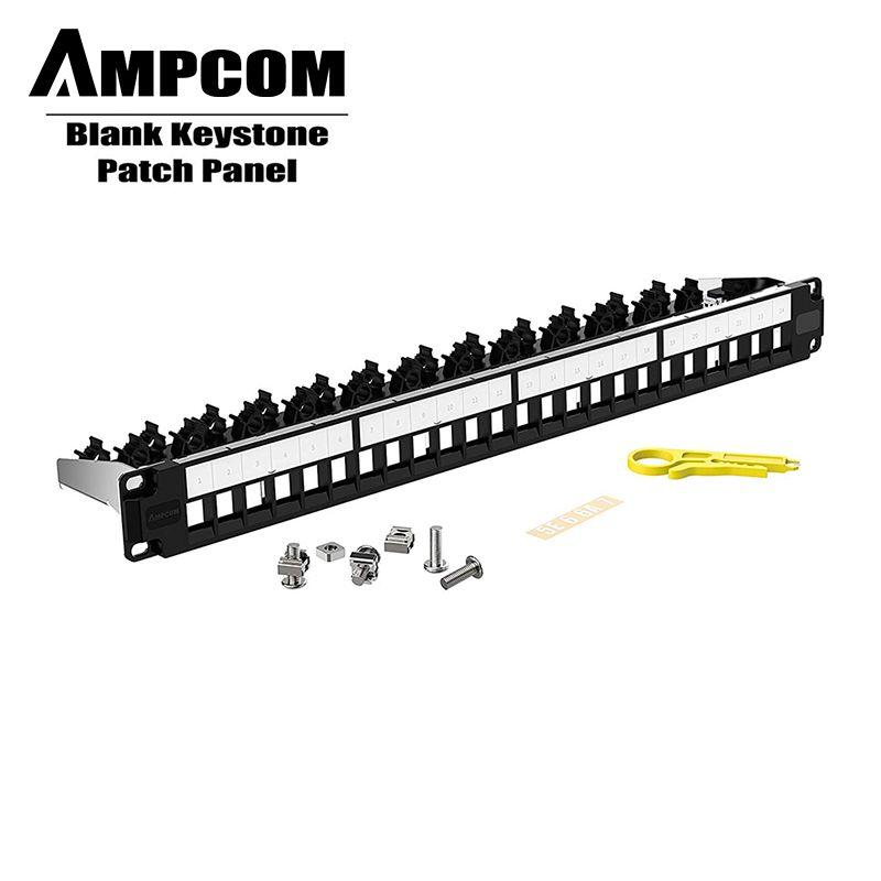 Pannello per tastierino vuoto a 24 porte AMPCOM, 1U STP / UTP, montaggio a parete da 19 pollici con pannello di gestione dei cavi posteriori, RJ45 Ethernet