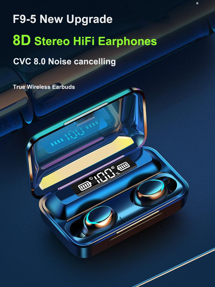 Earbudos inalámbricos TWS Auriculares Bluetooth Bass estéreo a prueba de agua Banco de energía para la linterna móvil