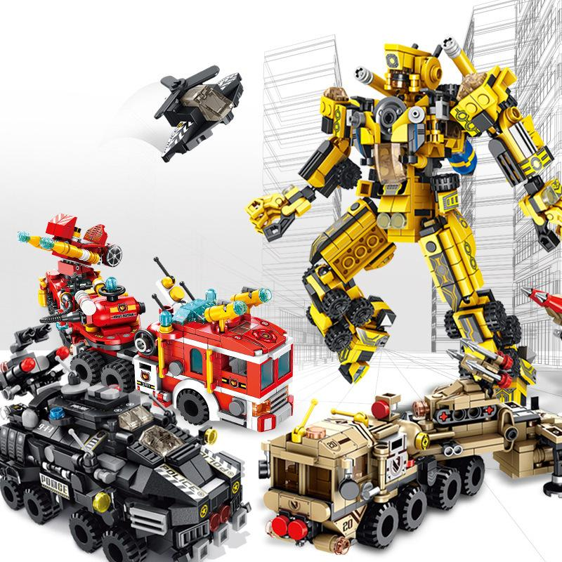 12+1 deformed robot city fire Military Children's Puzzle and Building Block Toy