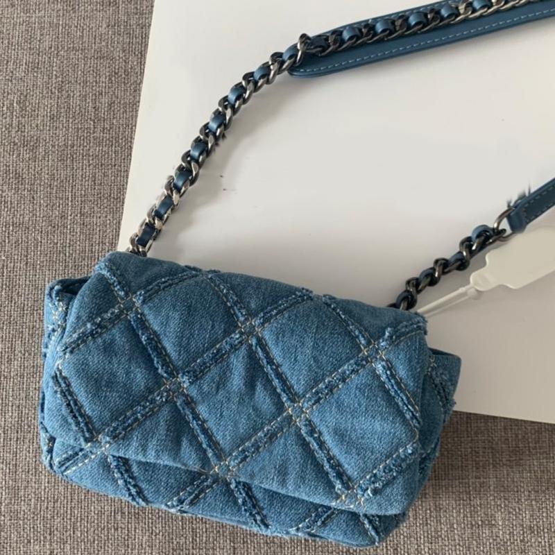 Сундук крест сумка решетка цепочка цепочки качества женских сумки сумочка высокая свободная алмазная сумка для тела аппаратное обеспечение доставку на плечо джинсовая банка Qicjv