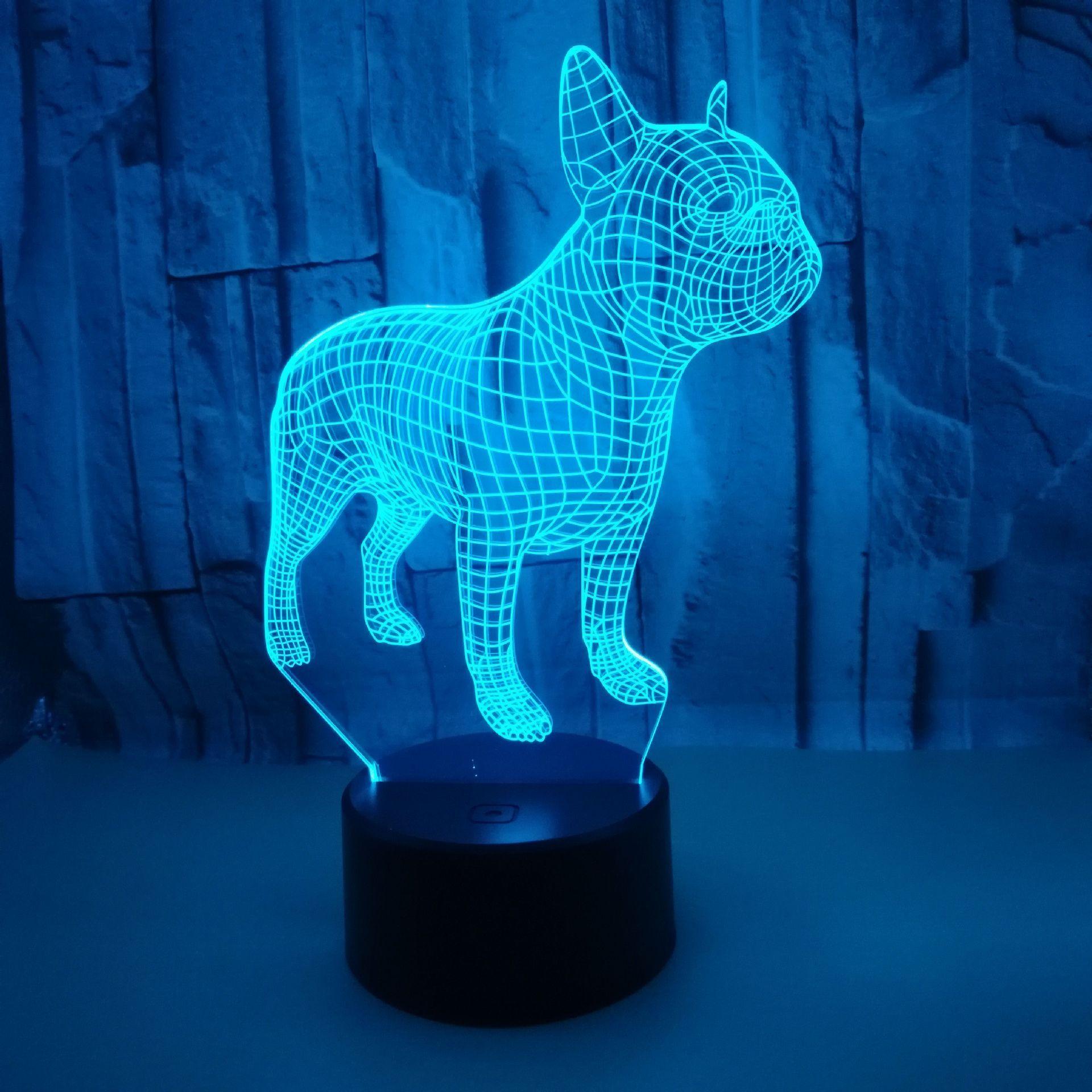 Touchez la télécommande Vision de vision Coloré 3D Night Lights Bulldog français Bulldog 3D petit lampe de table cadeau de Noël